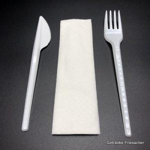 Besteckset Plastik mit Messer, Gabel und Serviette Getränke Friesacher