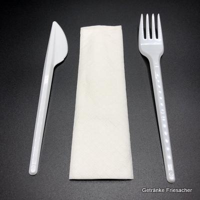 Besteckset Plastik mit Messer Gabel und Serviette kaufen