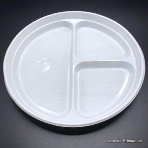 Plastikteller dreigeteilt Getränke Friesacher